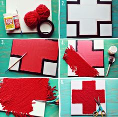 DIY: cross art- i would do this as a heart. i dont like red cross that much lol Cross Art, Red Cross, Swiss Flag, Yarn Painting, Crafts For Kids, Diy Crafts, Diy Art, Weaving, Diy Projects