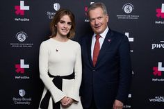 The President of the Republic of Finland, Mr. Sauli Niinistö with Emma Watson at the UN #HeForShe