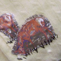 Hand stitched & repurposed yellow cable knit cashmere baby blanket w/vintage flannel deer appliqués.