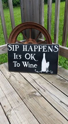 Wine Sign  Wooden Kitchen Sign  Sip Happens by RusticLaneCreations