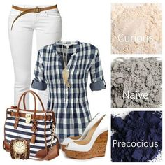 Cute outfit and makeup pairing. The makeup colors are: curious, naive and precocious. Click on the image to order these makeup colors. #outfitandmakeup