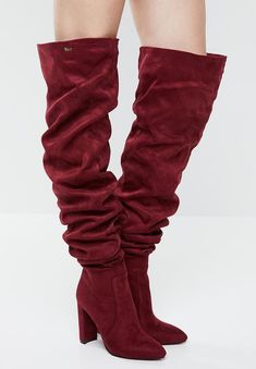 Over the Knee length. Over The Knee Boots, Block Heels, Plum, Burgundy, Footwear, How To Wear, Shoes, Women, Fashion
