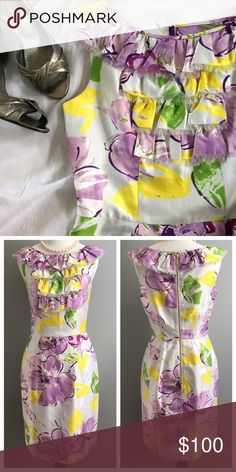 🆕Kate Spade floral dress So sophisticated and gorgeous! This Kate Spade dress is perfect for any special occasion. Has gold back zipper closure and ruffle front panel detail and is fully lined. In excellent condition with no signs of wear! Dress has belt loops, but no belt included. Measurement: 38 inches shoulder to hem; 17 inches underarm to underarm; 14 inch waist; 19 inch hips. Dry clean only. Material: 58% cotton & 42% silk. kate spade Dresses