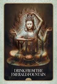 This is a time of tremendous spiritual growth, allow for divine assistance to guide you. Support is needed now in order to break through. Rise up! * Drink From The Emerald Fountain: Oracle Card from the Kuan Yin Oracle deck by Alana Fairchild Oracle Tarot, Oracle Deck, Wolf, Divine Mother, Guanyin, Tarot Decks, Deities, Mystic, Hobbit