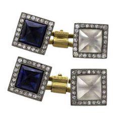 French Art Deco Crystal Sapphire Diamond Platinum Gold Cuff Links