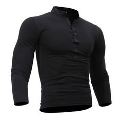 Mens Cotton Stand Collar T-shirt Buttons Breathable Long Sleeve Solid Color Tops
