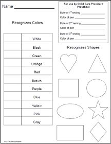 Preschool Skill Assessment Form  Flashcards Shapes Colors