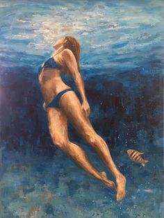 Deep blue water painting by nadia rapti Caramel Balayage, Deep Blue, Painting Inspiration, Saatchi Art, Body Art, Original Paintings, Fine Art, Canvas, Water Art