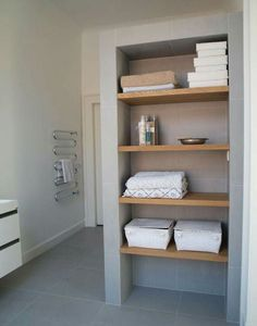 Many people had storage issues in their bathroom. It's possible to make it stylish and create enough storage space even in a small bathrooms. We've gathered a lot of clever tips and tricks showing how you can organize storage in a small bathroom. Shelves, Linen Closet, Bathroom Makeover, Complete Bathrooms, Storage Shelves, Bathroom, Bathroom Storage Shelves, Bathrooms Remodel, Bathroom Inspiration