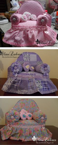 Sweet idea for doll arm-chair or pincushions! :)  Tutorial on how to make.