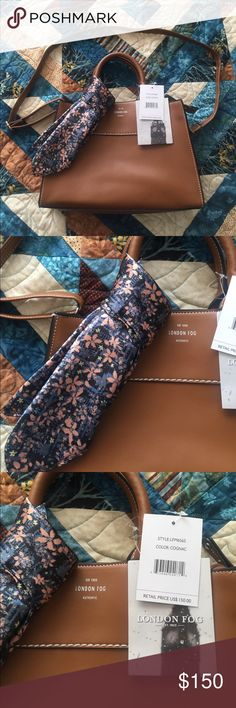 NWT London Fog Purse NWT Authentic London Fog Purse. Cognac color, comes with the floral scarf on handle. Original tags, never used, never worn, straight out of the box. Has shoulder strap and handles. Acts as a handbag or shoulder bag. Brand new! London Fog Bags Shoulder Bags