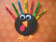 Cute Turkeys - Use colored popsicle sticks for the feathers & the kids can write what they are thankful for or what their favorite Thanksgiving things are