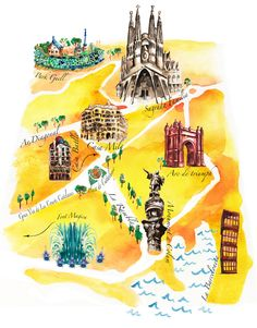 Illustrated Map of Barcelona