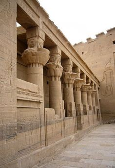 columns in the ancient egyptian philae temple unesco world heritage