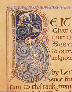 """Commissioned Laurel scroll by Kate as Mistress Katherine of Kells, for the SCA (Society for Creative Anachronism.) 1970's. Illuminated letter """"B"""" from that scroll- India ink on vegetable parchment, and tube watercolors, all freehand.  Medieval Calligraphy & Illumination"""