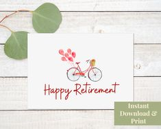 Printable Retirement Card For Women, Congratulations Retiring From Work, Digital Download Greeting Card Shops, Mother's Day Greeting Cards, Happy Retirement, Retirement Cards, Printable Cards, Printables, Granny Love, Red Flowers, Card Stock