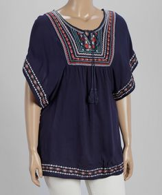 Navy & Red Tassel Embroidered Cape-Sleeve Tunic - Plus by Highness NYC #zulily