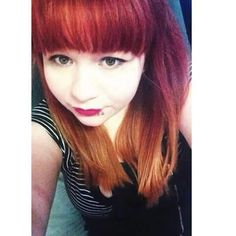 Red ombre hair with bangs, punk rock, diy