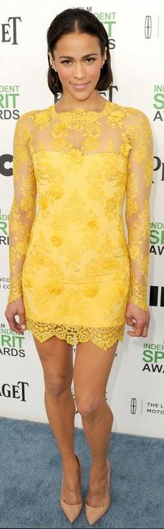 Who made Paula Patton's yellow lace sleeve dress, jewelry, and nude pumps that she wore in Santa Monica on March 1, 2014?