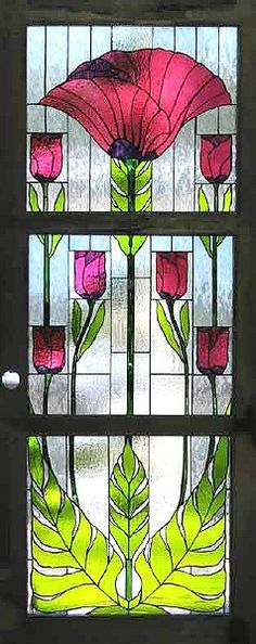 Stained glass window in Art Nouveau floral motif Stained Glass Door, Stained Glass Designs, Stained Glass Panels, Stained Glass Projects, Stained Glass Patterns, Leaded Glass, Art Nouveau, Art Deco, Mosaic Art
