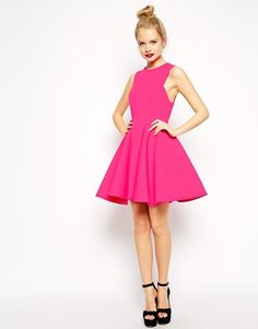 Enlarge ASOS Premium Bonded Fit And Flare Dress