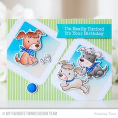 Mft Puppy Pals. I stamped them withMilk Chocolate hybrid inkand colored them up with copic markers. I then die cut the images with thecoordinating dies.