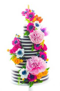 Black and White Stripe Sugar Flower Cake by Alex Narramore (The Mischief Maker)