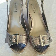 Gorgeous Silver Guess Wedges Guess Wedges in silver with a cute buckle across the top Guess Shoes Wedges