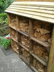 Image result for log store with green roof
