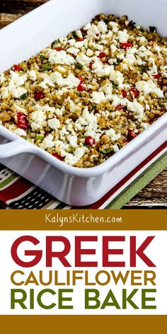 This Greek Cauliflower Rice Bake with Red Pepper, Onions, and Feta is a perfect low-carb side dish for any meal with Greek Flavors! And I love this made with plenty of Feta Cheese; take your choice on Low Carb Side Dishes, Side Dish Recipes, Vegetable Recipes, Low Carb Recipes, Healthy Recipes, Greek Side Dishes, Healthy Cauliflower Recipes, Low Carb Vegetarian Recipes, Vegetarian Appetizers
