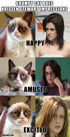 Grumpy Cat does impressions of Kristen Stewart!! This is exactly how I feel about her, too!