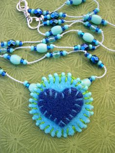 blue heart felt necklace | Flickr - Photo Sharing!