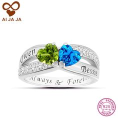 AIJAJA 925 Sterling Silver Two Hearts Wedding Rings Personalized Engraved Names & Birthstones Engagement Rings & Crystal Paved