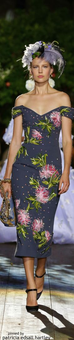 Dolce & Gabbana Alta Moda ~ Off the shoulder Floral Print Navy Dress, Fall 2015