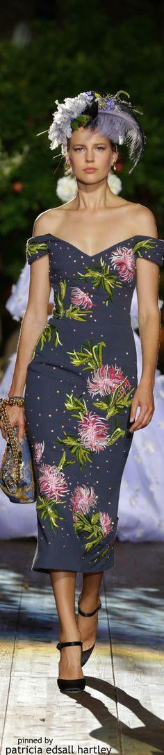 Dolce & Gabbana Alta Moda ~ Off the shoulder Floral Print Navy Dress, Fall 2015