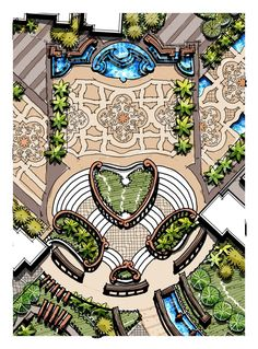 Landscape cascading water, accent paving, grand staircase, l Design Patio, Garden Design Plans, Modern Landscape Design, Traditional Landscape, Garden Landscape Design, Landscape Plans, Landscape Art, Chinese Landscape, Landscaping Design