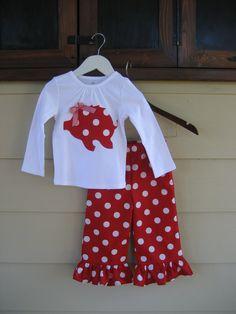 Arkansas Razorback Shirt and Matching Ruffle Pant by theuptownbaby, $35.00