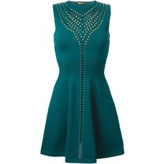 Roberto Cavalli Studded Knitted Dress ($1,289) ❤ liked on Polyvore featuring dresses, green, teal dress, green dress, studded dress, blue dress and roberto cavalli dresses