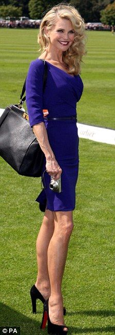 I love this bright blue fitted dress and tote.