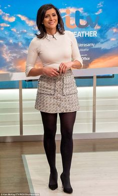 Good Morning Britain's Lucy Verasamy reverts to thigh-skimming skirt Woman Skirts business woman short skirt Pantyhose Outfits, Black Pantyhose, Nylons, Pantyhose Skirt, Weather Girl Lucy, Short Skirts, Mini Skirts, Skater Skirts, Tv Girls