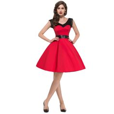 Swing Pinup Casual Cotton Women Summer Dress Rockabilly Retro Vintage Dress Short Red Celebrity Wedding Party Prom Gowns 4597 Alternative Measures
