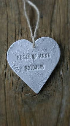 NEW DESIGN- Beautiful personalised ceramic heart wedding favour with vintage label attached for name place setting . by BertandAce on Etsy Homemade Wedding Favors, Vintage Wedding Favors, Wedding Favors Cheap, Wedding Crafts, Wedding Souvenir, Wedding Cd, Wedding Ideas, Handmade Wedding Gifts, Handmade Christmas Gifts