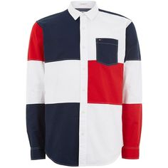 TOPMAN Tommy Hilfiger White Block Check Shirt ($105) ❤ liked on Polyvore featuring men's fashion, men's clothing, men's shirts, men's casual shirts, white, mens white shirts, mens longsleeve shirts, mens colorblock shirt, mens white long sleeve t shirt and topman mens shirts