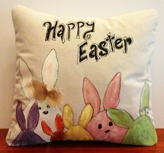 Pillow Cover Colorful Bunnies Happy Easter by SippingIcedTea Diy Pillows, Custom Pillows, Accent Pillows, Cushions, Fabric Painting, Canvas Fabric, Cotton Canvas, Happy Easter, Easter Bunny