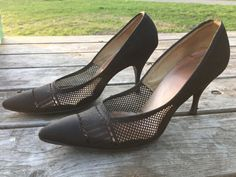 Meet Holly, a black nylon pump from Soft-Steps by Citations. Still in its original box, these 8 1/2 AA pumps feature mesh cutouts and a 3 inch