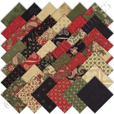 Moda 3 Sisters Wintergreen Charm Pack, Set of 42 5-inch (12.7cm) Precut Cotton Fabric Squares