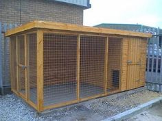 outdoor dog kennel, like the covered run & opening on end to protect from drafts in cold weather