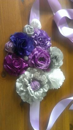 Maternity Sash Purple gray lavender and white  by StorkNestDesigns, $25.00