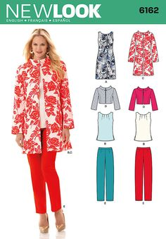 """misses' sleeveless shift dress or top has pleated neckline detail and back zipper. princess-seamed coat or jacket has stand collar. coat has long sleeves; jacket has 3/4 sleeves. slim pants have side zipper.<br><br><img src=""""skins/skin_1/images/icon-printer.gif"""" alt=""""printable pattern"""" /><a href=""""#"""" onclick=""""toggle_visibility('foo');"""">printable pattern terms of sale</a><div id=""""foo"""" style=""""display:none; margin-top: 30px;"""">digital patterns are tiled and labeled so you can print and assembl..."""