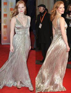 Jessica Chastain in Oscar de la Renta at the 2012 BAFTAs